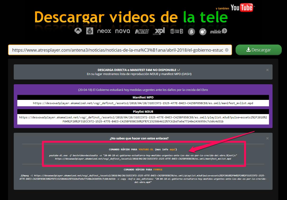 Comando para youtube-dl